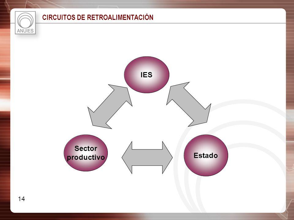 CIRCUITOS DE RETROALIMENTACIÓN IES Estado Sector productivo 14