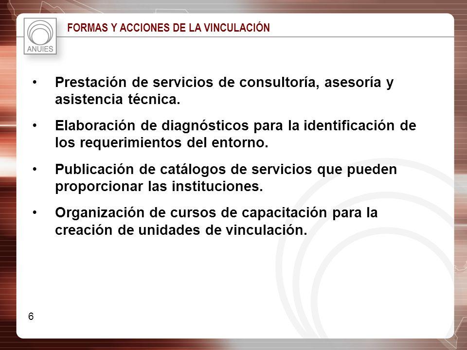 FORMAS Y ACCIONES DE LA VINCULACIÓN Prestación de servicios de consultoría, asesoría y asistencia técnica. Elaboración de diagnósticos para la identif