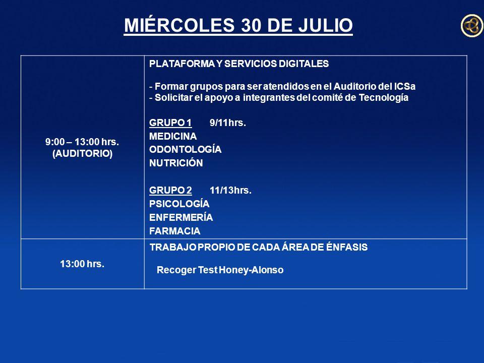 MIÉRCOLES 30 DE JULIO 9:00 – 13:00 hrs.