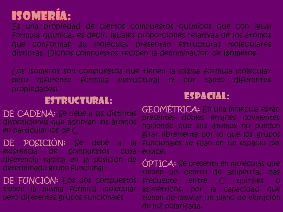 DE CADENA: Se debe a las distintas disposiciones que adoptan los átomos en particular los de C DE POSICIÓN: Se debe a la existencia de compuestos cuya