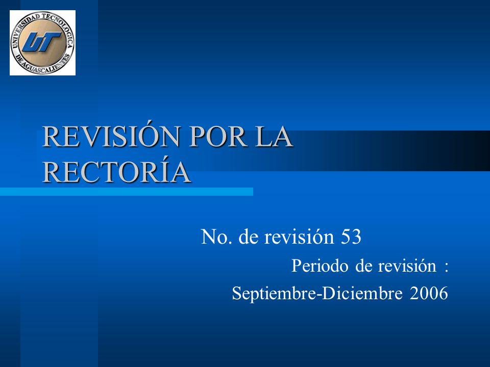 REVISIÓN POR LA RECTORÍA No. de revisión 53 Periodo de revisión : Septiembre-Diciembre 2006