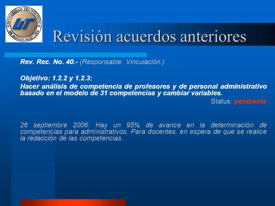 Revisión acuerdos anteriores Rev.Rec. No.