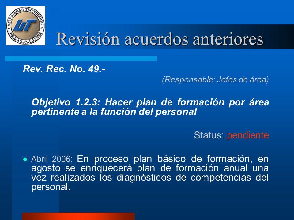 Revisión acuerdos anteriores Rev. Rec. No.