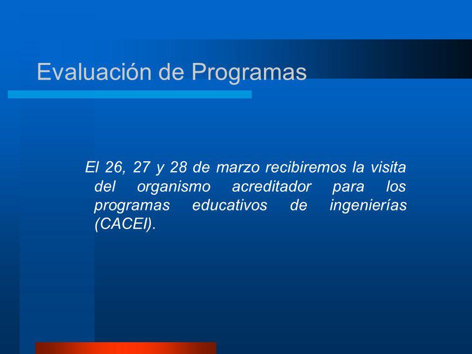 El 26, 27 y 28 de marzo recibiremos la visita del organismo acreditador para los programas educativos de ingenierías (CACEI).
