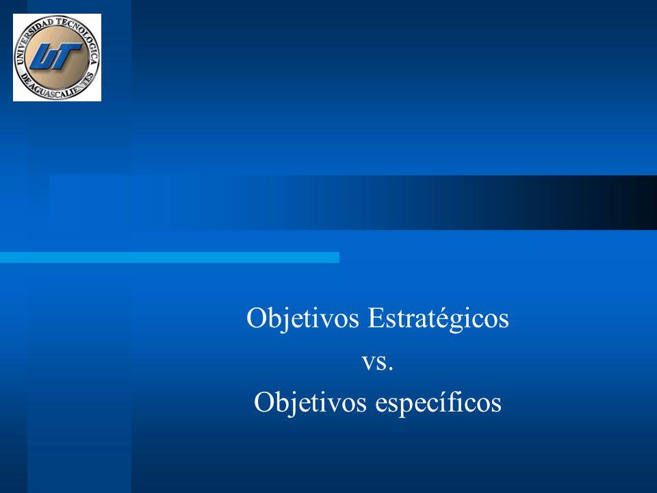 Objetivos Estratégicos vs. Objetivos específicos