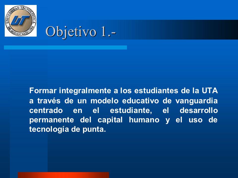 Objetivo 1.- Formar integralmente a los estudiantes de la UTA a través de un modelo educativo de vanguardia centrado en el estudiante, el desarrollo permanente del capital humano y el uso de tecnología de punta.