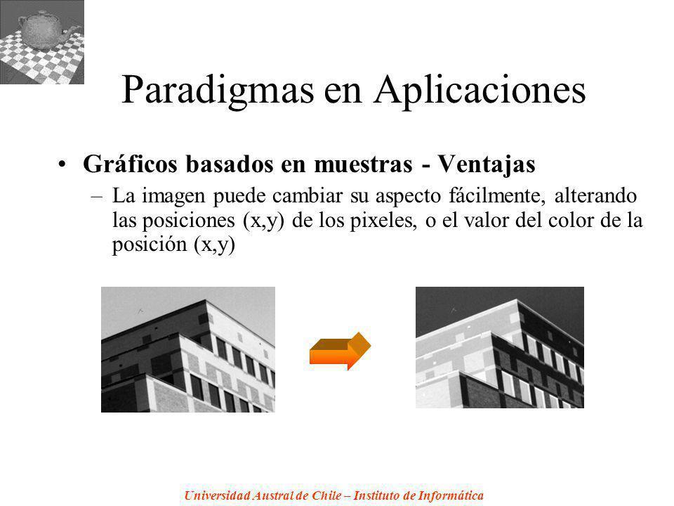 Universidad Austral de Chile – Instituto de Informática Paradigmas en Aplicaciones Gráficos basados en muestras - Ventajas –La imagen puede cambiar su aspecto fácilmente, alterando las posiciones (x,y) de los pixeles, o el valor del color de la posición (x,y)