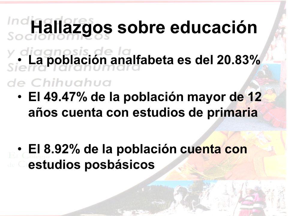 Hallazgos sobre educación La población analfabeta es del 20.83% El 49.47% de la población mayor de 12 años cuenta con estudios de primaria El 8.92% de la población cuenta con estudios posbásicos