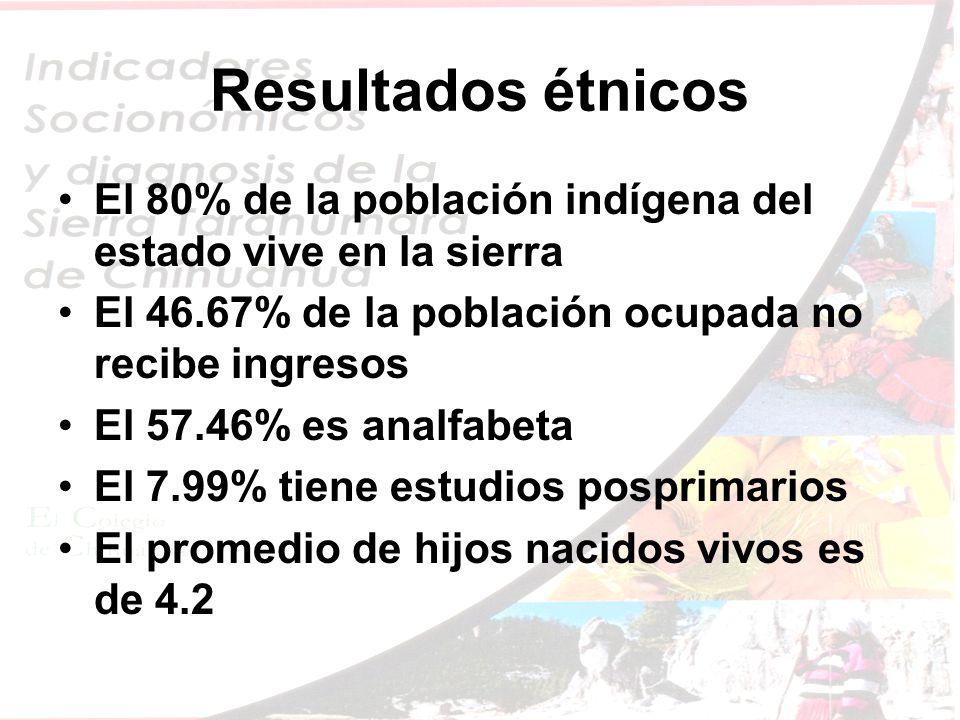 Resultados étnicos El 80% de la población indígena del estado vive en la sierra El 46.67% de la población ocupada no recibe ingresos El 57.46% es analfabeta El 7.99% tiene estudios posprimarios El promedio de hijos nacidos vivos es de 4.2