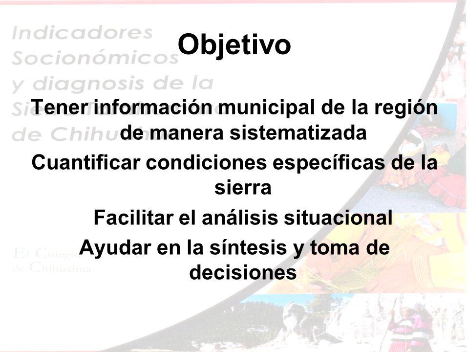 Objetivo Tener información municipal de la región de manera sistematizada Cuantificar condiciones específicas de la sierra Facilitar el análisis situacional Ayudar en la síntesis y toma de decisiones