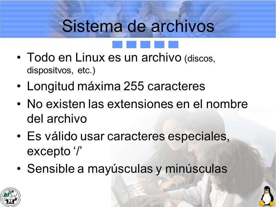 Sistema de archivos Todo en Linux es un archivo (discos, dispositvos, etc.) Longitud máxima 255 caracteres No existen las extensiones en el nombre del