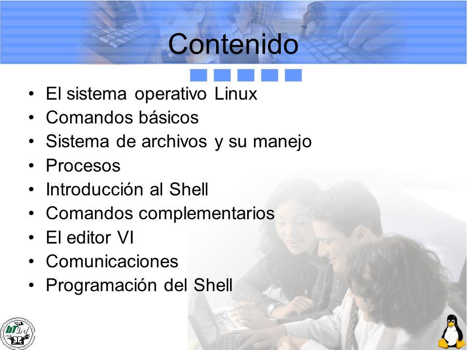 Contenido El sistema operativo Linux Comandos básicos Sistema de archivos y su manejo Procesos Introducción al Shell Comandos complementarios El edito