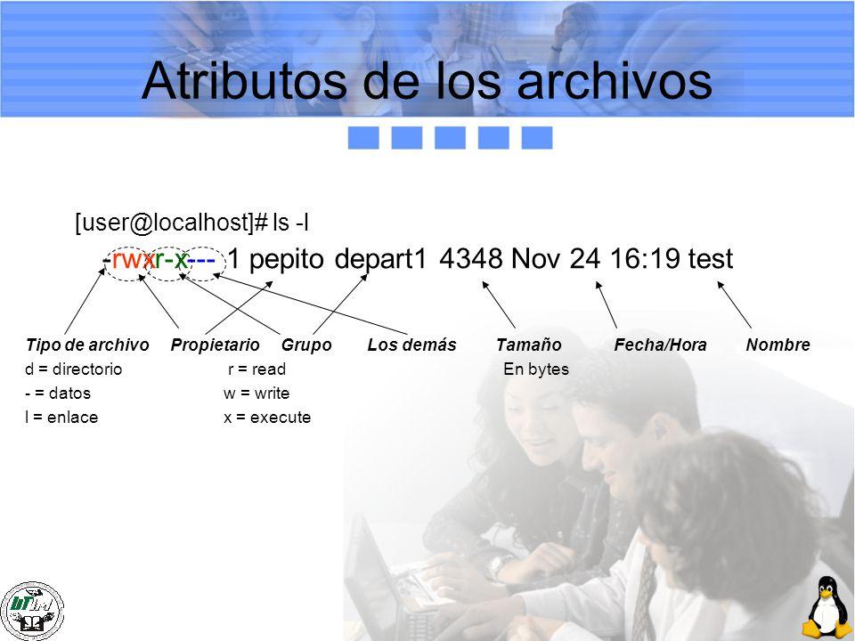Atributos de los archivos [user@localhost]# ls -l -rwxr-x--- 1 pepito depart1 4348 Nov 24 16:19 test Tipo de archivo Propietario Grupo Los demás Tamañ