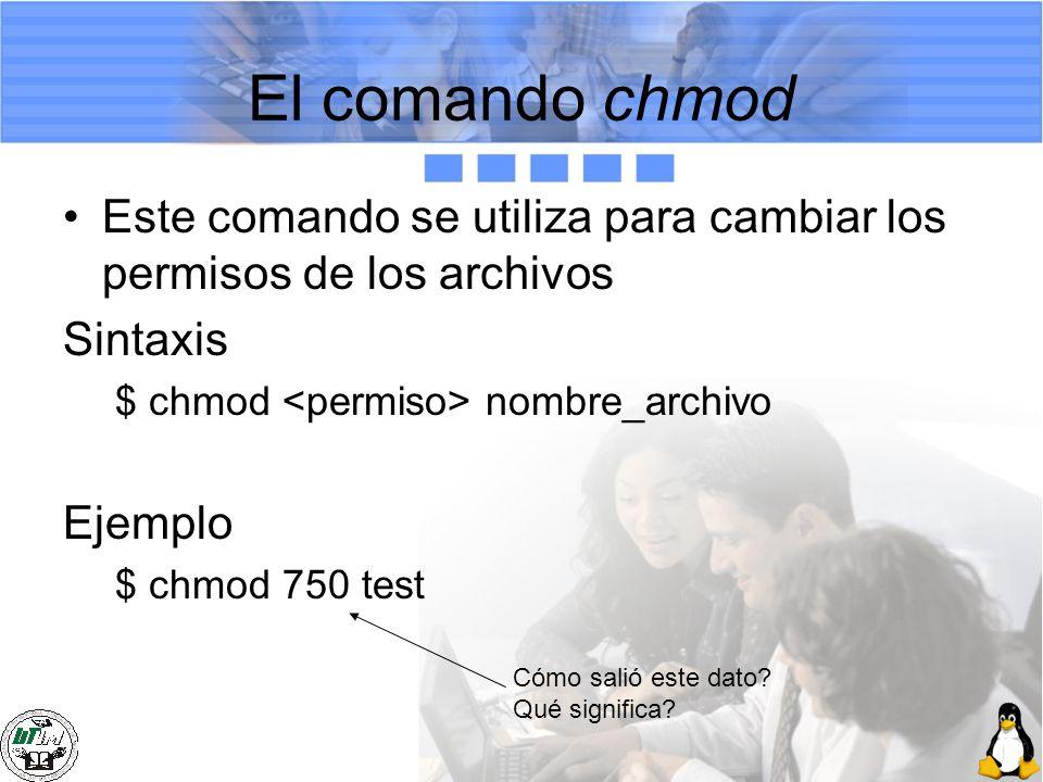 El comando chmod Este comando se utiliza para cambiar los permisos de los archivos Sintaxis $ chmod nombre_archivo Ejemplo $ chmod 750 test Cómo salió