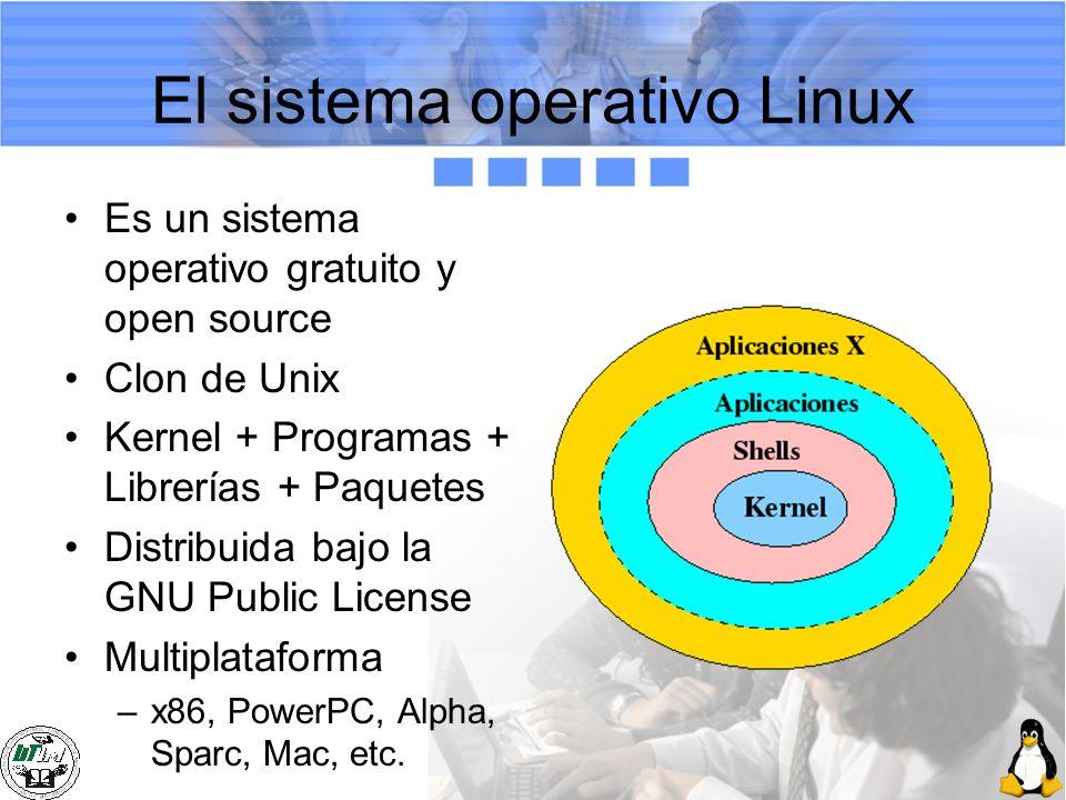 El sistema operativo Linux Es un sistema operativo gratuito y open source Clon de Unix Kernel + Programas + Librerías + Paquetes Distribuida bajo la G