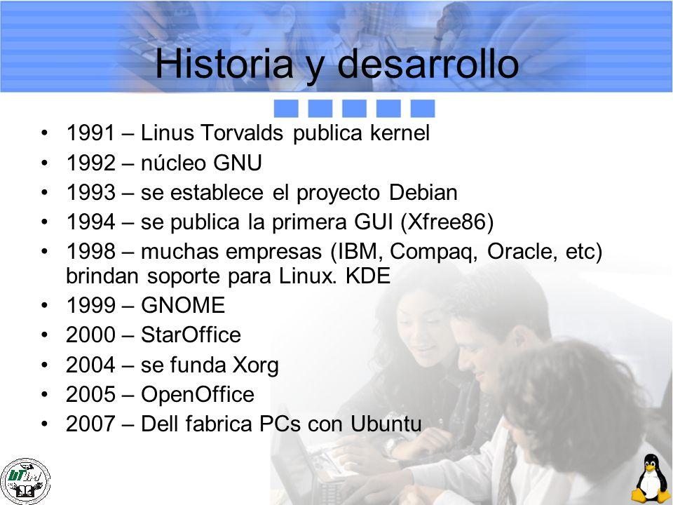 Historia y desarrollo 1991 – Linus Torvalds publica kernel 1992 – núcleo GNU 1993 – se establece el proyecto Debian 1994 – se publica la primera GUI (