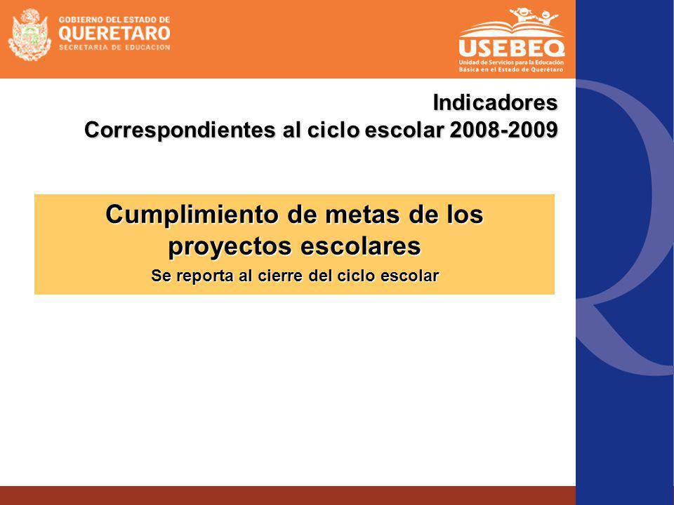 Indicadores Correspondientes al ciclo escolar 2008-2009 Cumplimiento de metas de los proyectos escolares Se reporta al cierre del ciclo escolar