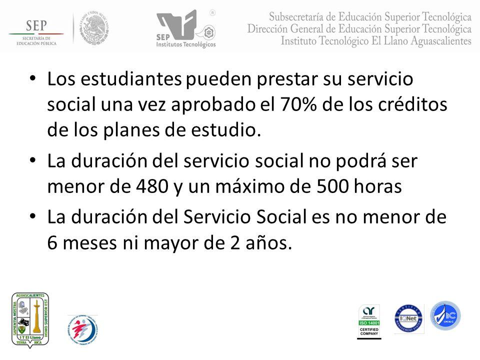 Los estudiantes pueden prestar su servicio social una vez aprobado el 70% de los créditos de los planes de estudio. La duración del servicio social no