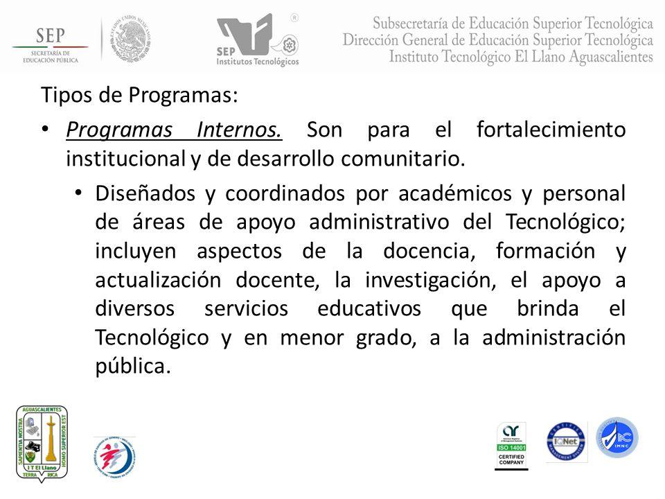 Tipos de Programas: Programas Internos. Son para el fortalecimiento institucional y de desarrollo comunitario. Diseñados y coordinados por académicos