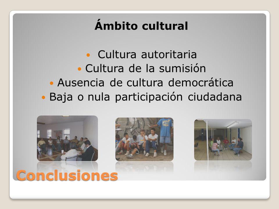 Conclusiones Ámbito cultural Cultura autoritaria Cultura de la sumisión Ausencia de cultura democrática Baja o nula participación ciudadana