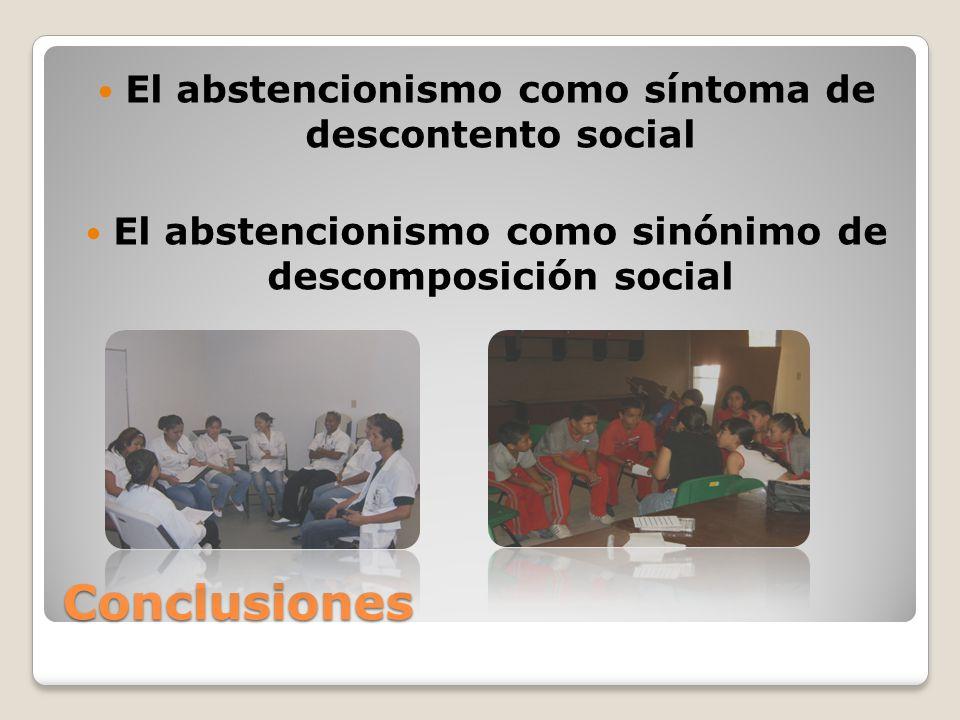 Conclusiones El abstencionismo como síntoma de descontento social El abstencionismo como sinónimo de descomposición social
