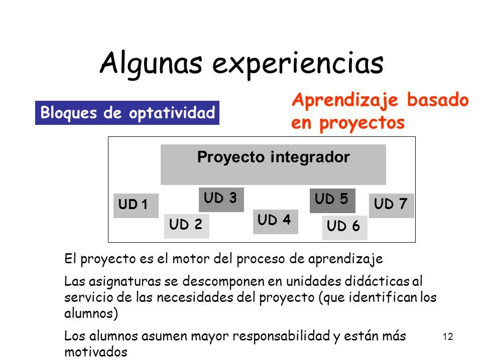 12 Algunas experiencias Bloques de optatividad Proyecto integrador UD 1 UD 2 UD 3 UD 4 UD 5 UD 6 UD 7 El proyecto es el motor del proceso de aprendiza