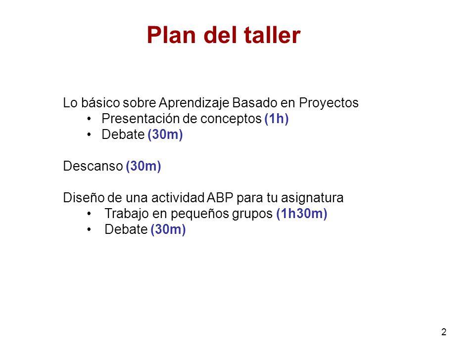 2 Plan del taller Lo básico sobre Aprendizaje Basado en Proyectos Presentación de conceptos (1h) Debate (30m) Descanso (30m) Diseño de una actividad A