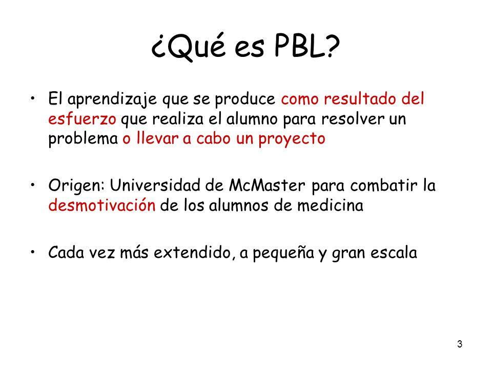 3 ¿Qué es PBL? El aprendizaje que se produce como resultado del esfuerzo que realiza el alumno para resolver un problema o llevar a cabo un proyecto O