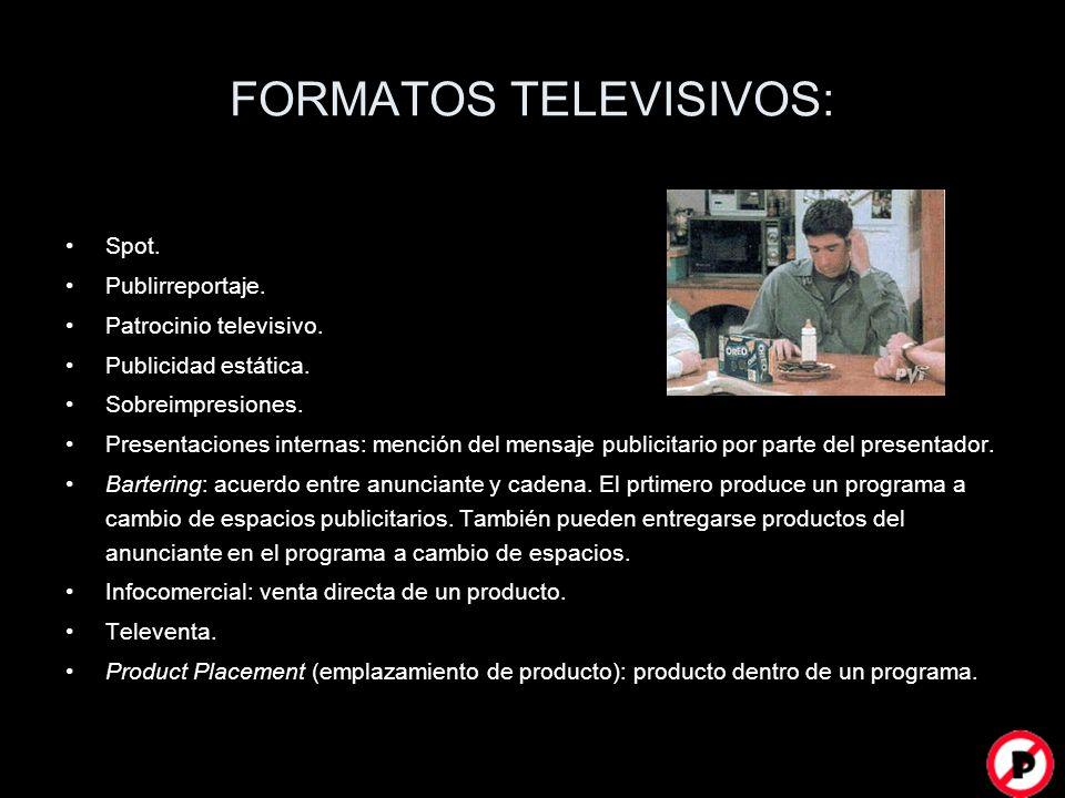 FORMATOS TELEVISIVOS: Spot. Publirreportaje. Patrocinio televisivo. Publicidad estática. Sobreimpresiones. Presentaciones internas: mención del mensaj