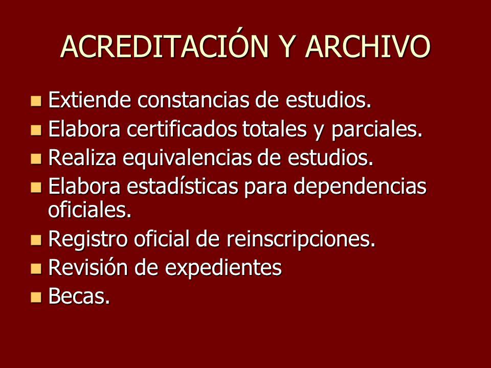 ACREDITACIÓN Y ARCHIVO Extiende constancias de estudios. Extiende constancias de estudios. Elabora certificados totales y parciales. Elabora certifica