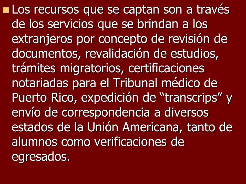 Los recursos que se captan son a través de los servicios que se brindan a los extranjeros por concepto de revisión de documentos, revalidación de estu