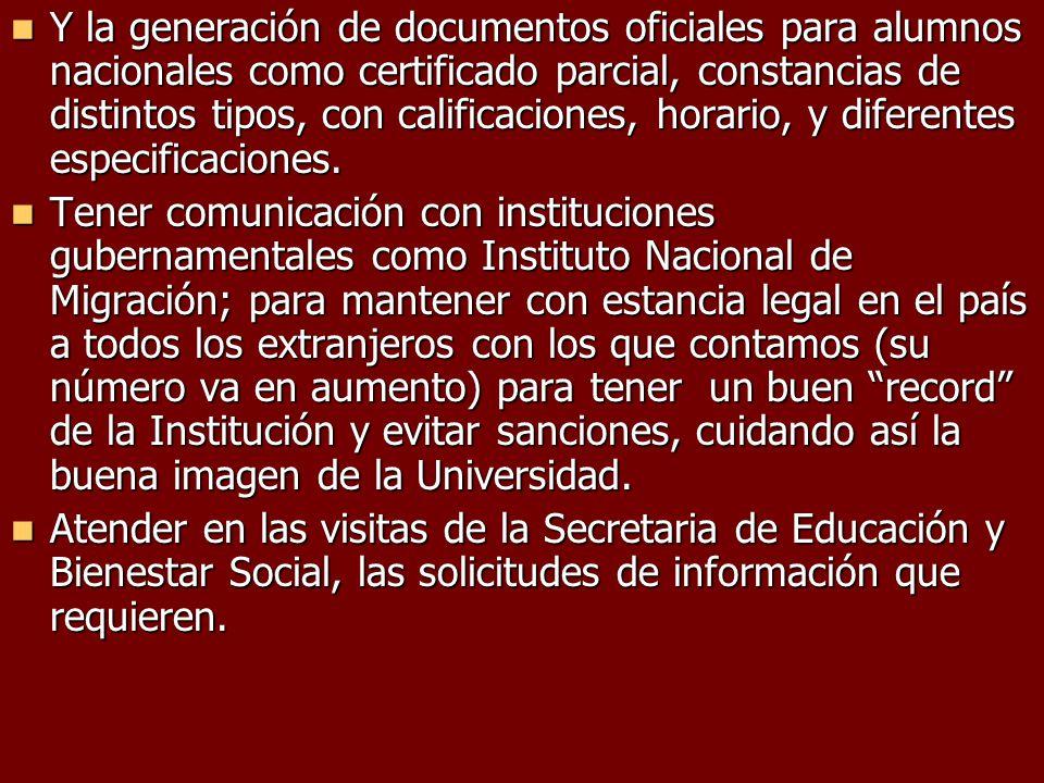 Y la generación de documentos oficiales para alumnos nacionales como certificado parcial, constancias de distintos tipos, con calificaciones, horario,
