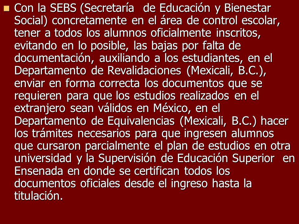 Con la SEBS (Secretaría de Educación y Bienestar Social) concretamente en el área de control escolar, tener a todos los alumnos oficialmente inscritos