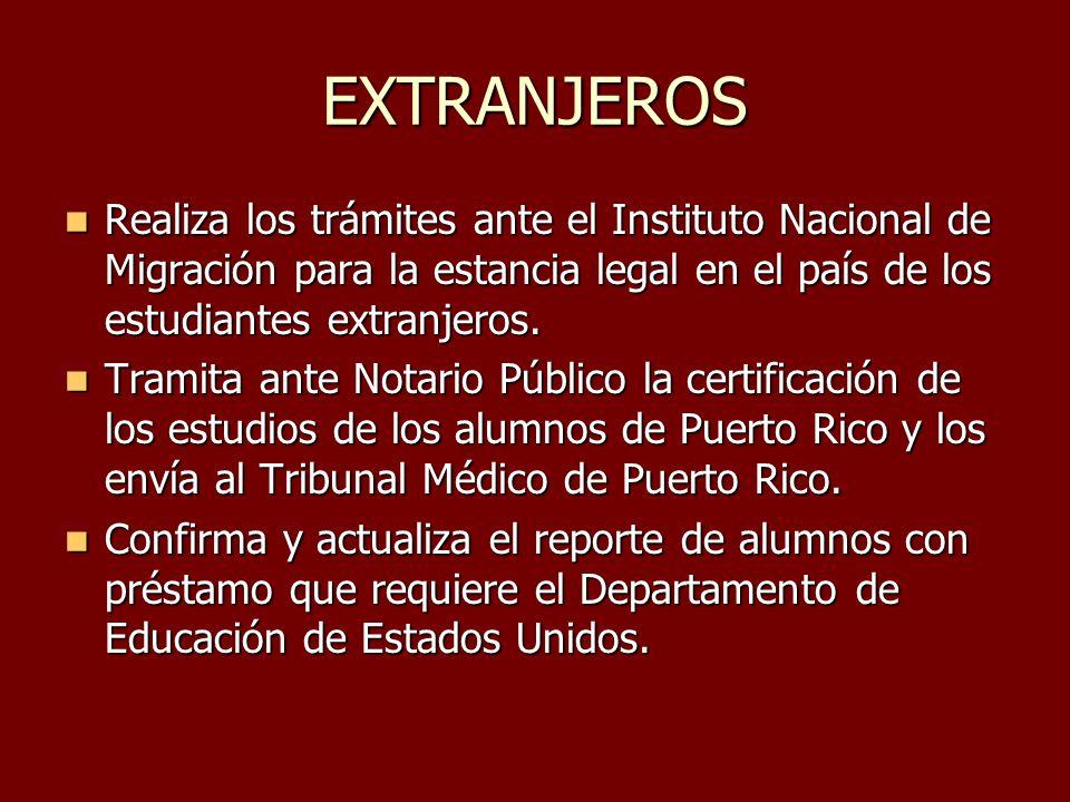 EXTRANJEROS Realiza los trámites ante el Instituto Nacional de Migración para la estancia legal en el país de los estudiantes extranjeros. Realiza los