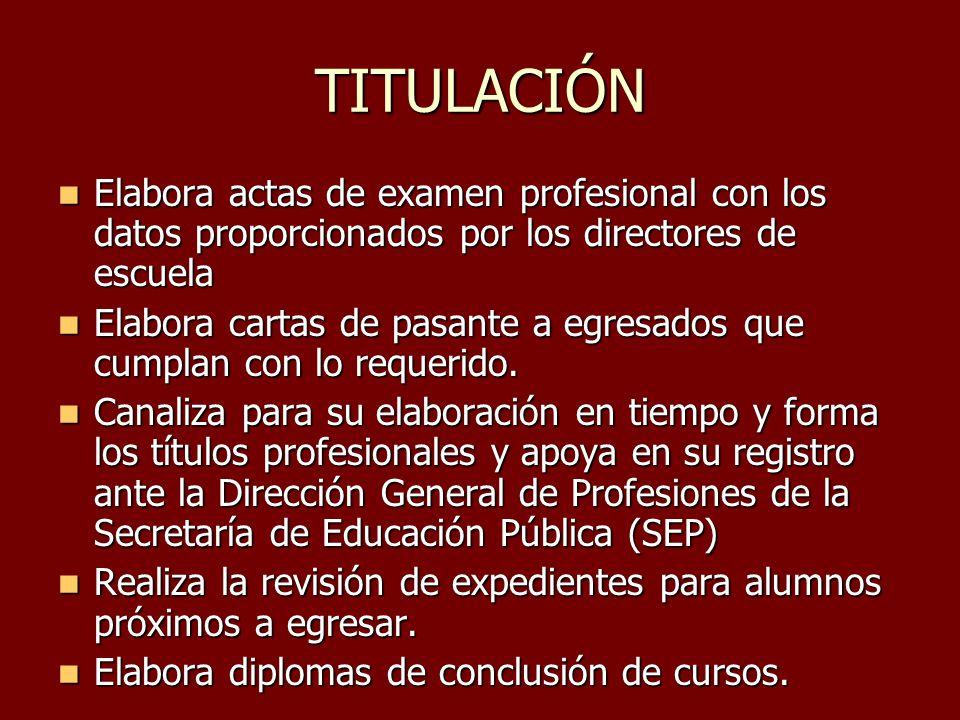 TITULACIÓN Elabora actas de examen profesional con los datos proporcionados por los directores de escuela Elabora actas de examen profesional con los