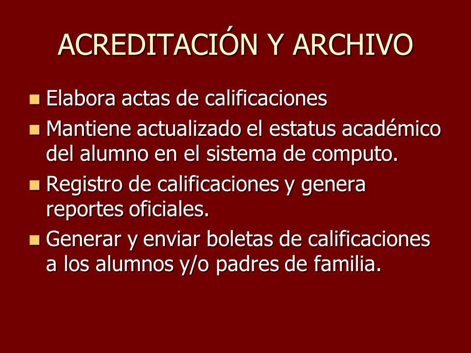ACREDITACIÓN Y ARCHIVO Elabora actas de calificaciones Elabora actas de calificaciones Mantiene actualizado el estatus académico del alumno en el sist