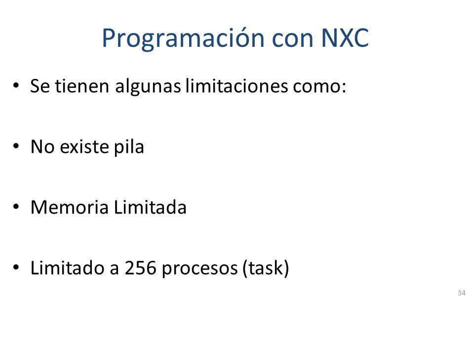 Otros entornos NXC (Not eXactly C) es un lenguaje similar NQC, el cual es la forma más popular de programar el RCX. Está basado en el ensamblador NBC