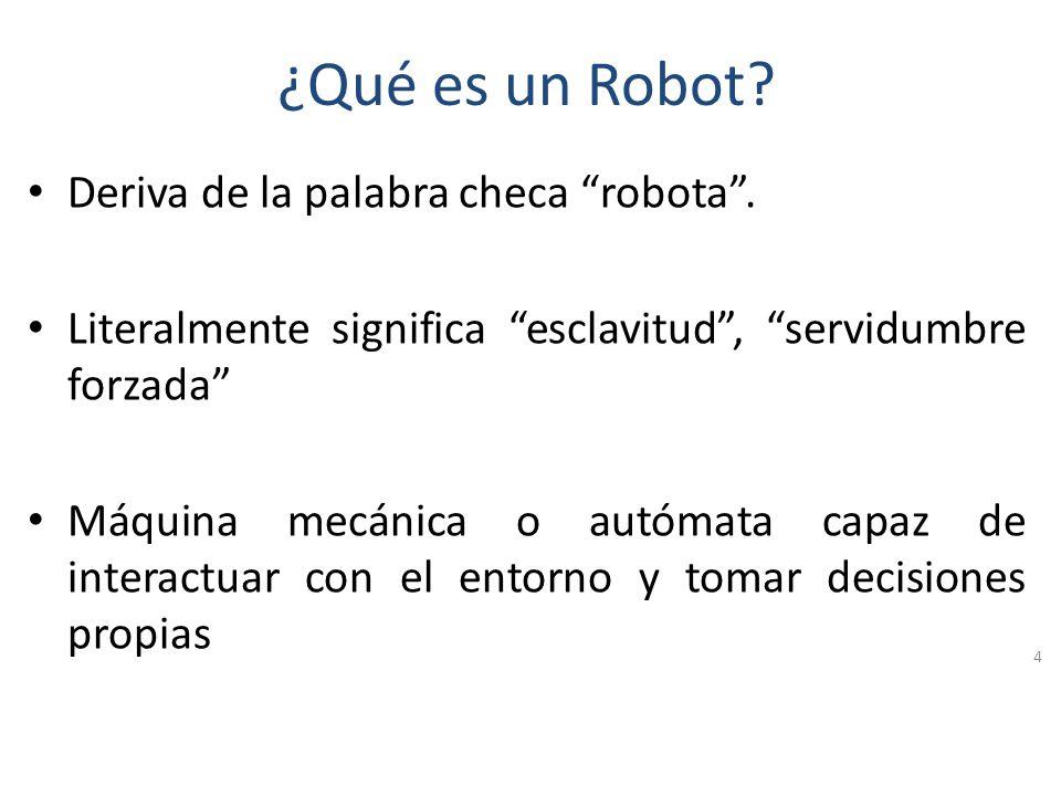 ¿Qué es la Robótica? Es el área de la Inteligencia Artificial (IA) que se encarga de los estudios de los robots. La robótica no sólo incluye elementos