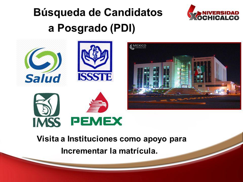 Búsqueda de Candidatos a Posgrado (PDI) Visita a Instituciones como apoyo para Incrementar la matrícula.