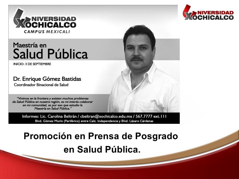 Promoción en Prensa de Posgrado en Salud Pública.