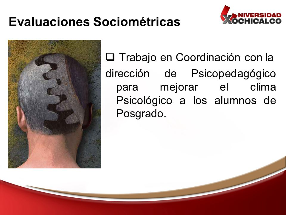 Evaluaciones Sociométricas Trabajo en Coordinación con la dirección de Psicopedagógico para mejorar el clima Psicológico a los alumnos de Posgrado.