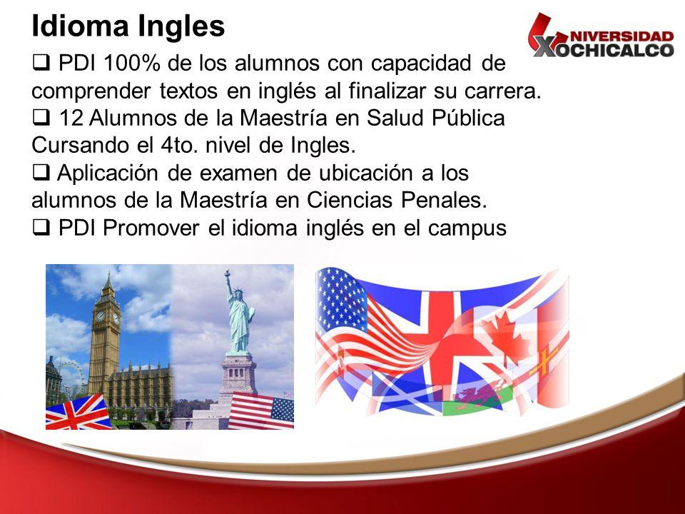 Idioma Ingles PDI 100% de los alumnos con capacidad de comprender textos en inglés al finalizar su carrera. 12 Alumnos de la Maestría en Salud Pública