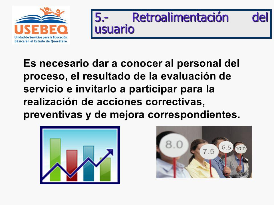 5.- Retroalimentación del usuario Es necesario dar a conocer al personal del proceso, el resultado de la evaluación de servicio e invitarlo a participar para la realización de acciones correctivas, preventivas y de mejora correspondientes.