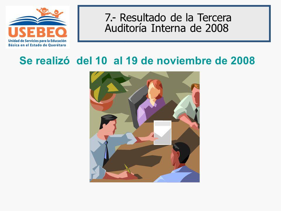 7.- Resultado de la Tercera Auditoría Interna de 2008 Se realizó del 10 al 19 de noviembre de 2008