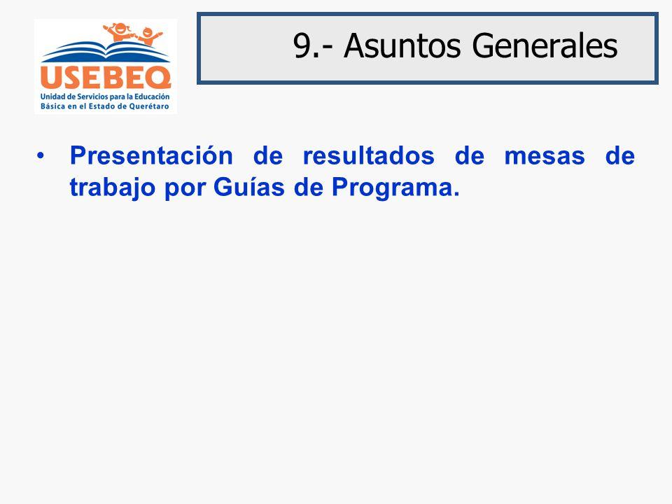 9.- Asuntos Generales Presentación de resultados de mesas de trabajo por Guías de Programa.