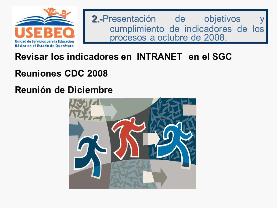 2.- 2.-Presentación de objetivos y cumplimiento de indicadores de los procesos a octubre de 2008.