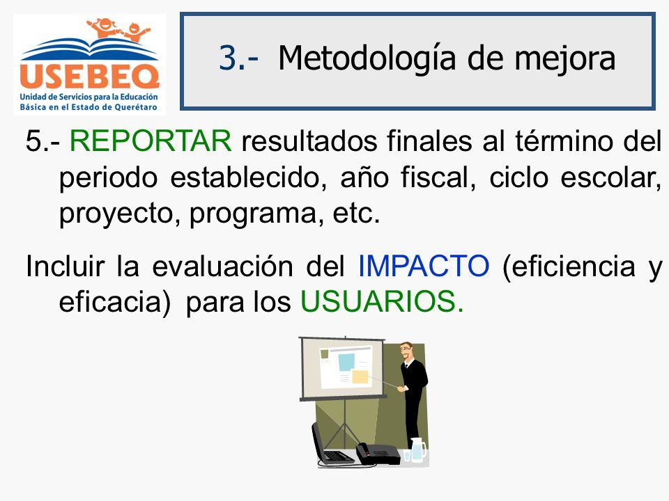 3.- Metodología de mejora 5.- REPORTAR resultados finales al término del periodo establecido, año fiscal, ciclo escolar, proyecto, programa, etc.