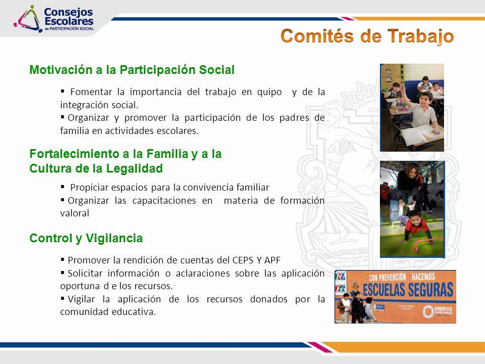 Fomentar la importancia del trabajo en quipo y de la integración social. Organizar y promover la participación de los padres de familia en actividades
