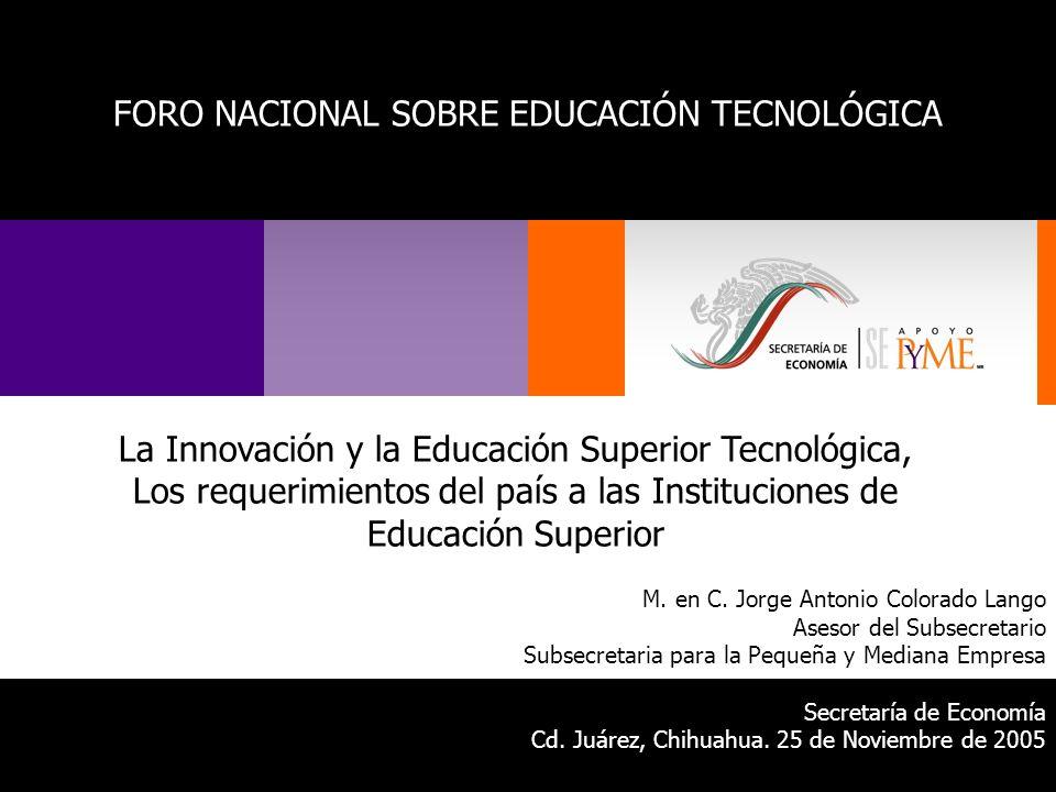 La Innovación y la Educación Superior Tecnológica, Los requerimientos del país a las Instituciones de Educación Superior M. en C. Jorge Antonio Colora