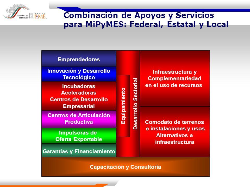 Combinación de Apoyos y Servicios para MiPyMES: Federal, Estatal y Local Emprendedores Incubadoras Aceleradoras Centros de Desarrollo Empresarial Cent